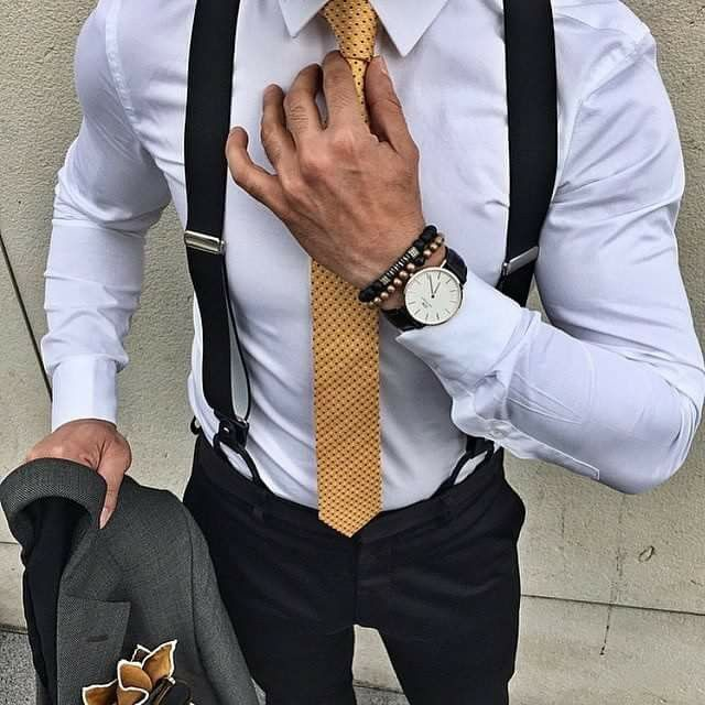 23d45605b white shirt black pants black Suspenders black watch gray blazer with dotted  gold tie mind blowing style