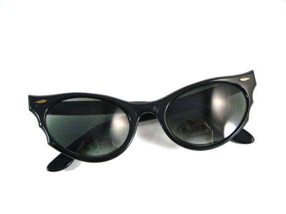 5f44a398dd RAY-BAN Alora black cat eye sunglasses frames. horn rimmed flared rare B L  bausch and lomb.