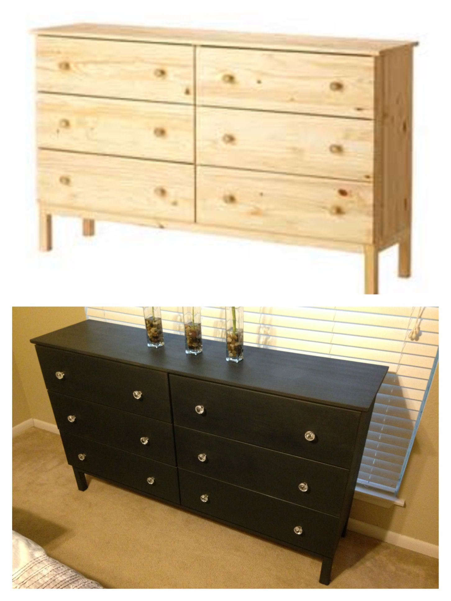 ikea tarva dresser refinished with annie sloan chalk paint in graphite with clear wax finish and. Black Bedroom Furniture Sets. Home Design Ideas
