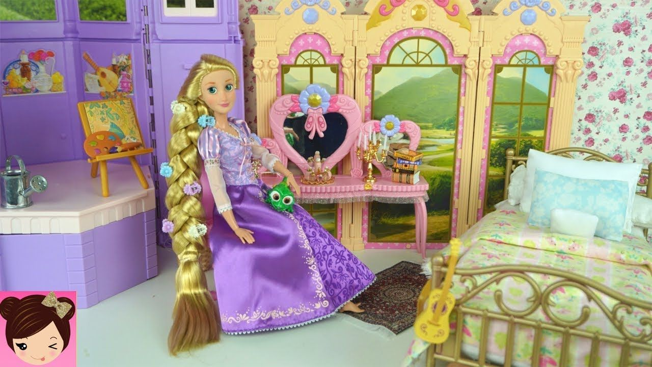 Barbie Rapunzel Bedroom Morning Routine Disney Princess Doll Bedroom Disney Princess Dolls Princess Dolls Playset