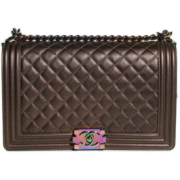 e65f228b549 CHANEL Iridescent Goatskin Quilted Large Boy Flap Bronze ❤ liked on Polyvore  featuring bags