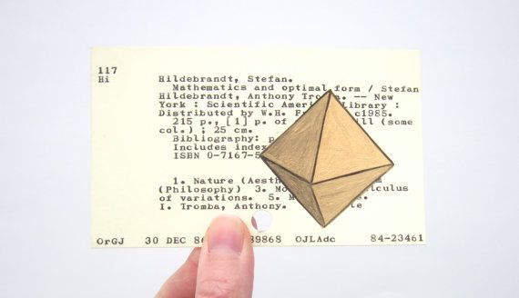 Geometric Form on Library Card  Print of gold by WingedWorld, $12.00