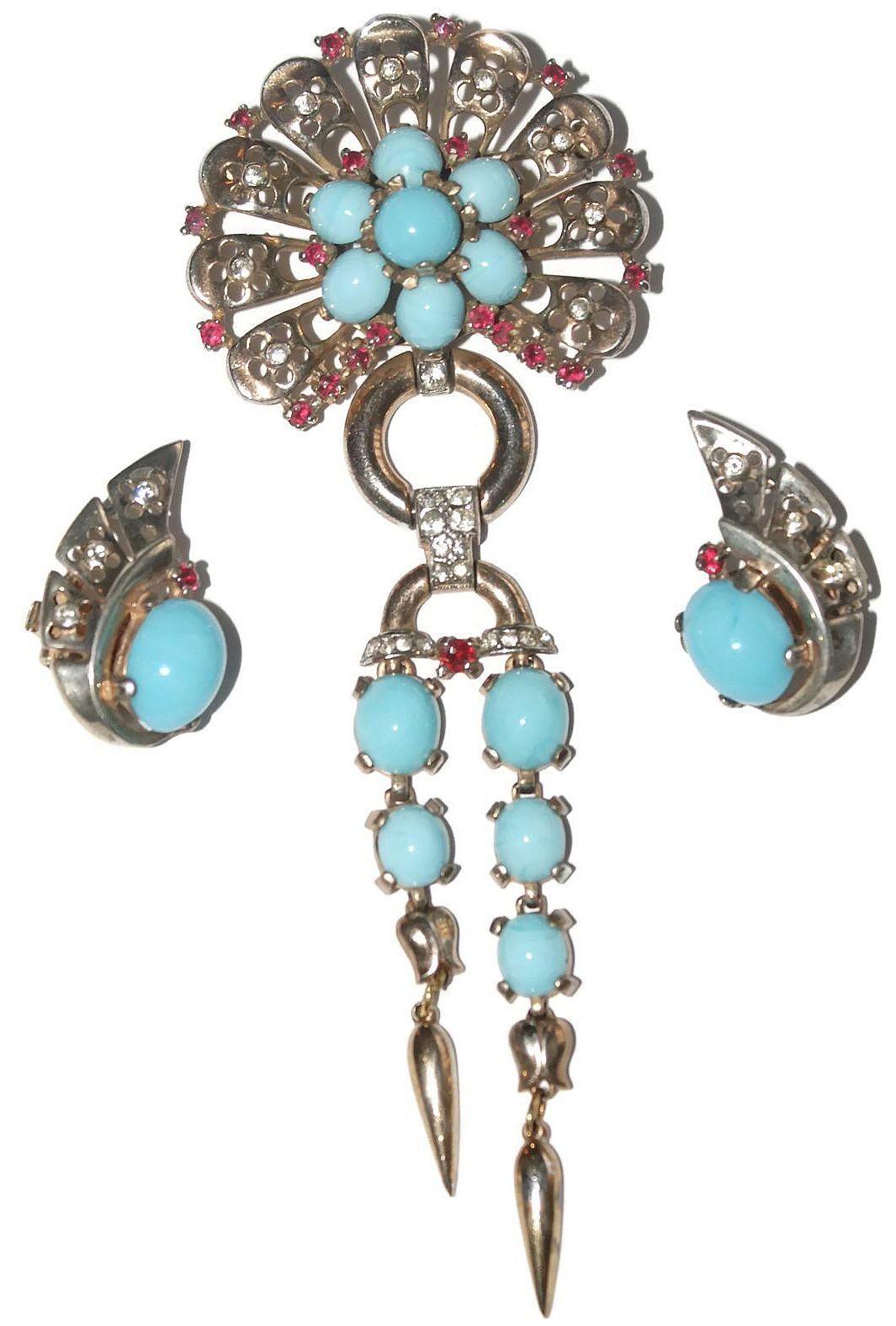 Trifari Sterling Turquoise Cabochon Rhinestone Dangle Pin