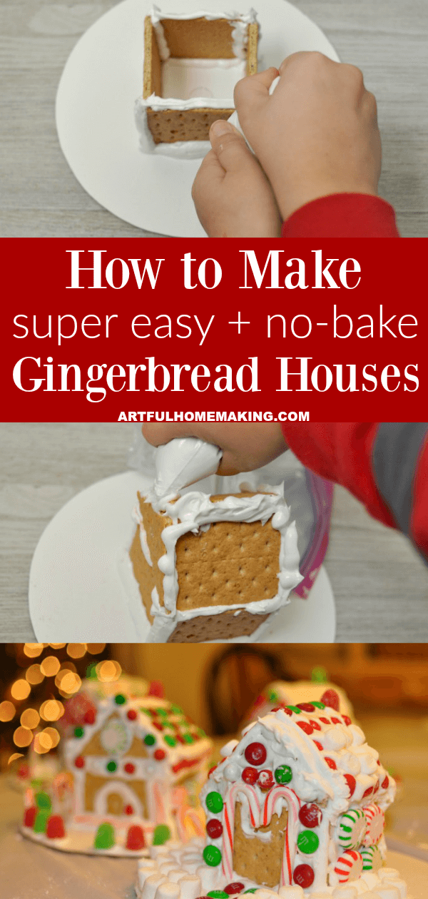 Easy No-Bake Gingerbread Houses Royal Icing #easyroyalicingrecipe