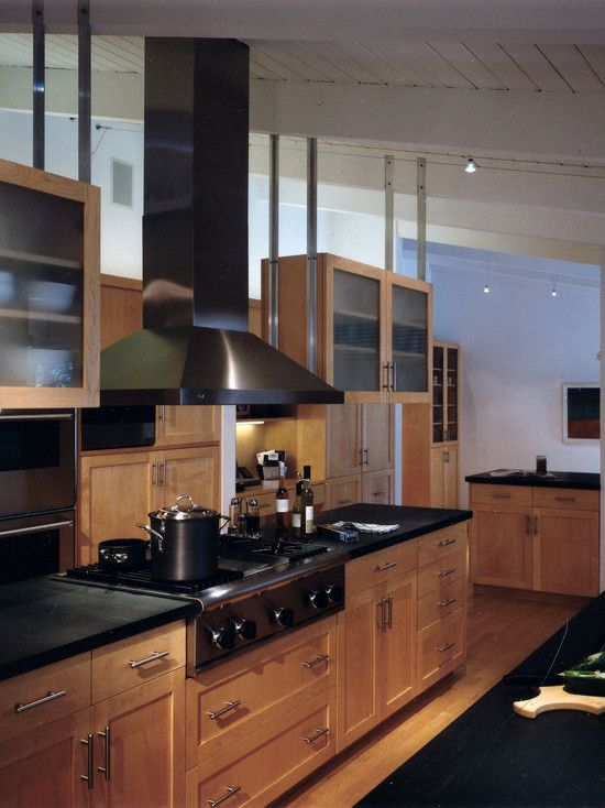 Birch Kitchen Cabinets ...pops with the dark countertops and ...