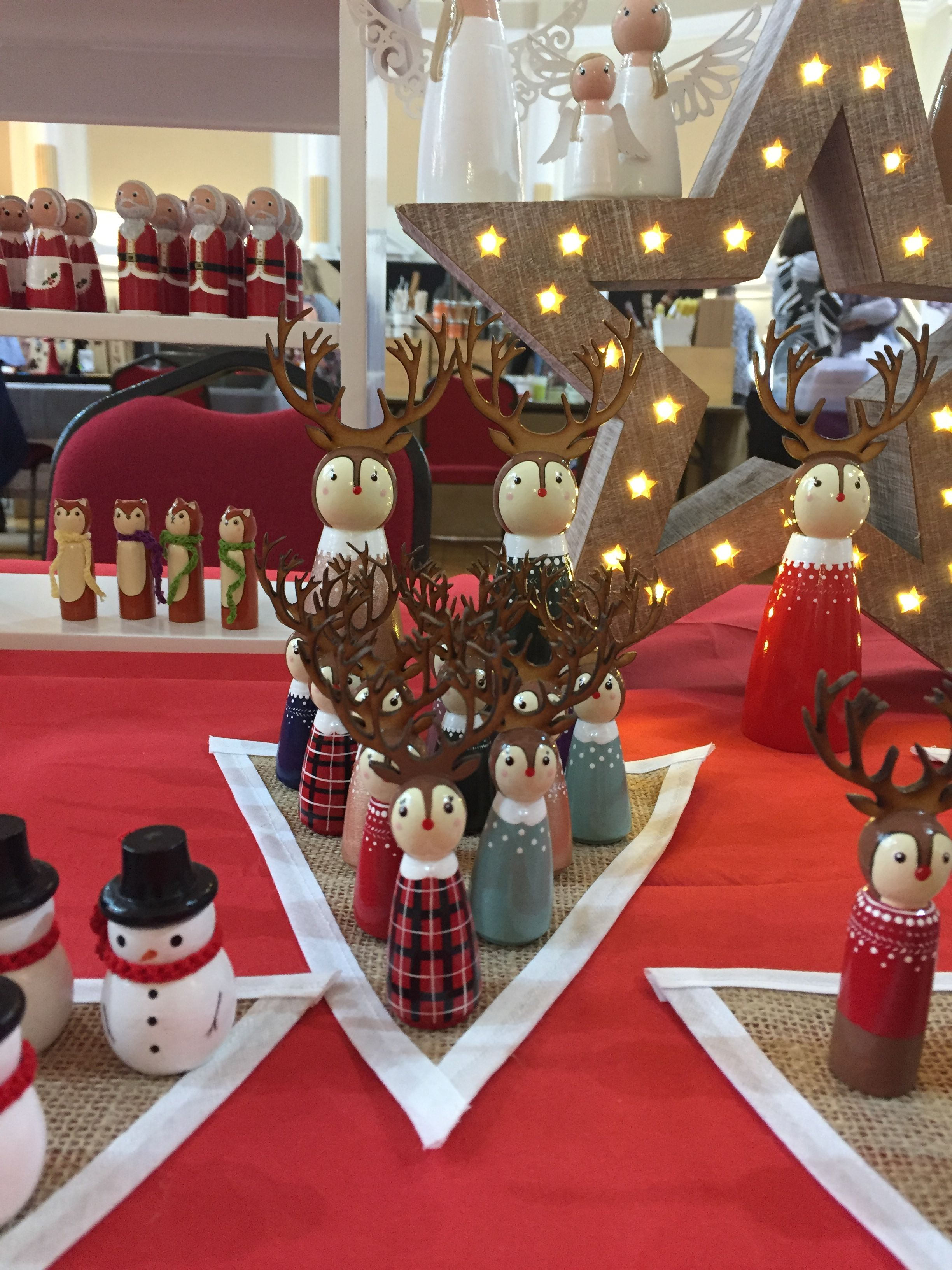 Wooden Reindeer Peg Doll Christmas Decorations By Gabe And Penny