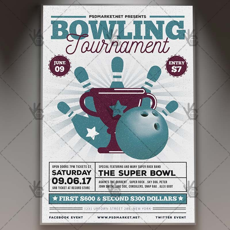 Vintage Bowling   Premium Flyer PSD Template #bowling   Bowling Flyer  Template Free  Bowling Flyer Template Free