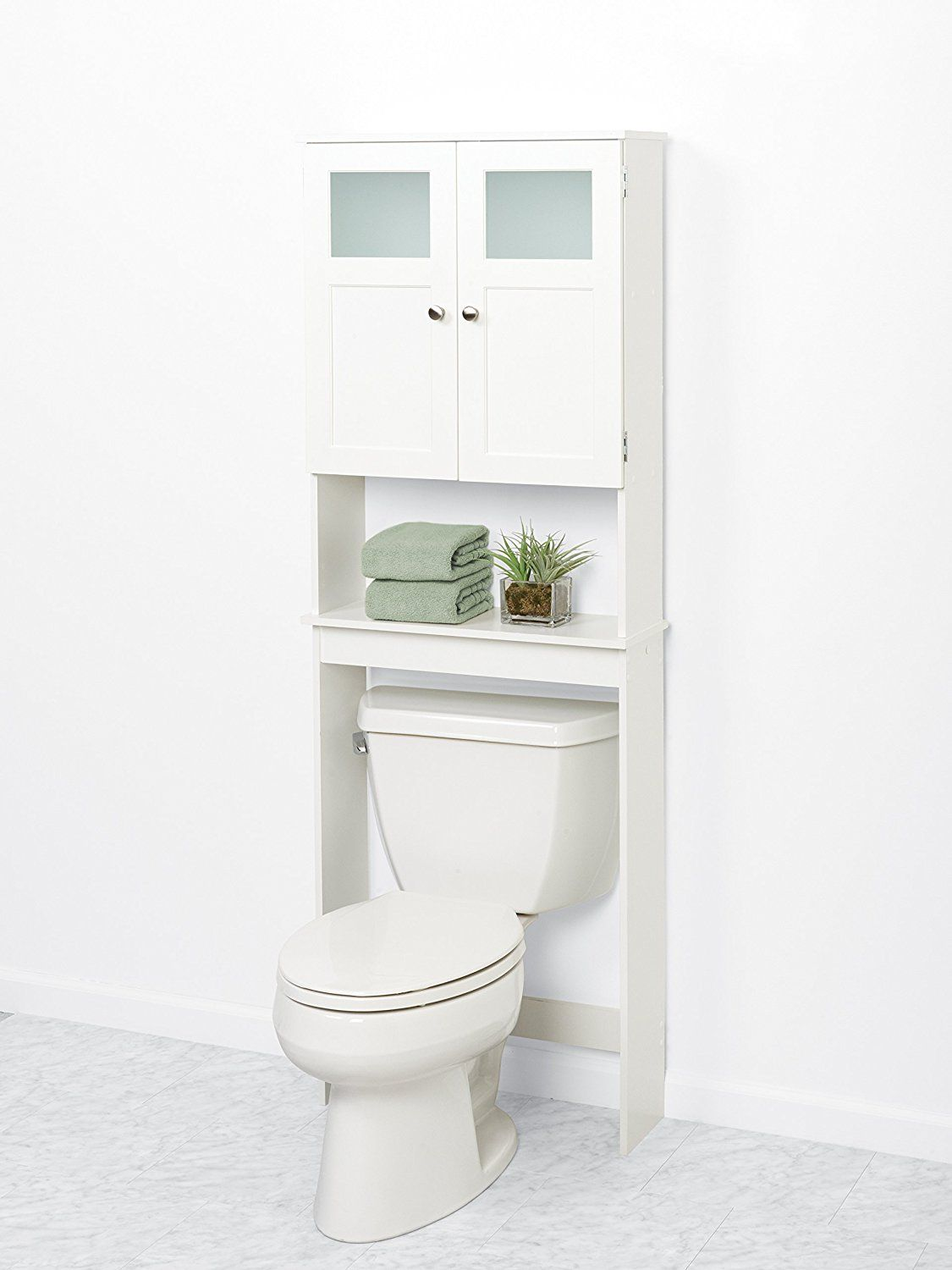 Amazon.com: Zenna Home 9819WWBB, Bathroom Spacesaver, White/Frosted ...