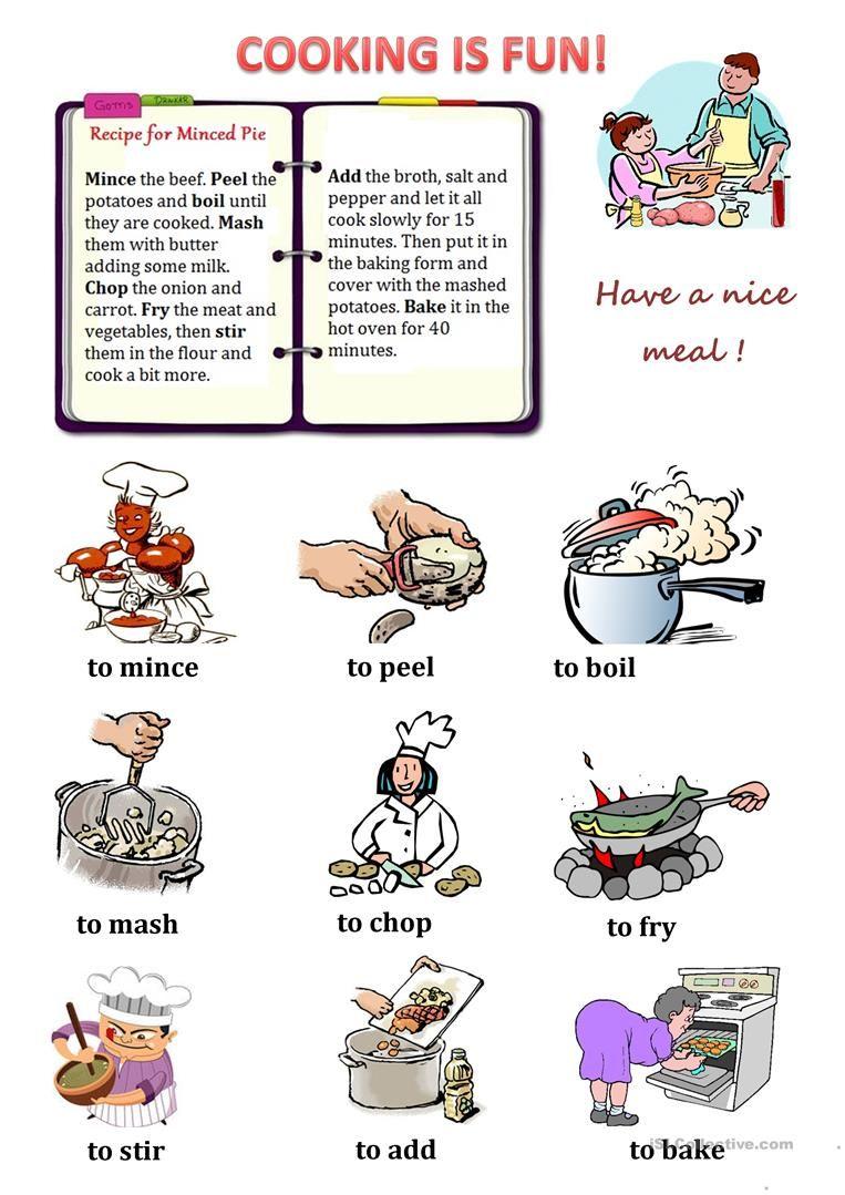Cooking Verbs Life Skills Lessons Verb Worksheets Verb [ 1079 x 763 Pixel ]