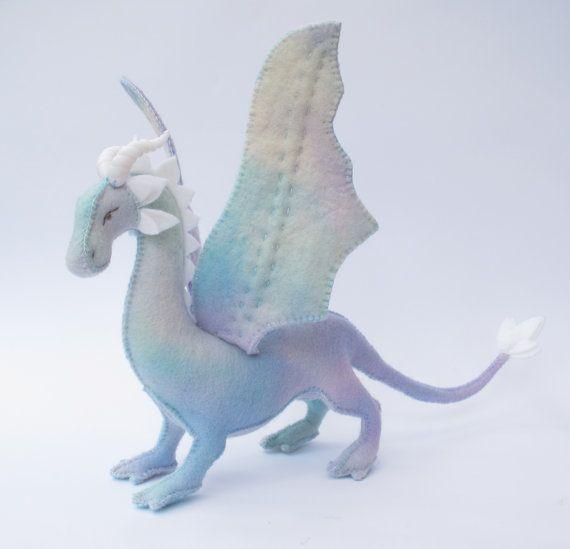 Felt Dragon Soft Toy Sewing Pattern PDF, Hand sewn with Hand dyed Wool Felt #feltdragon