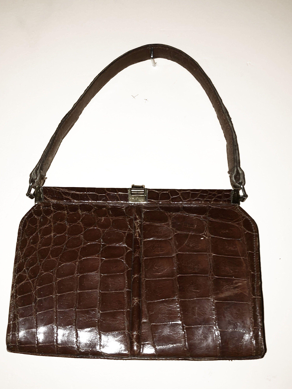 Sac à main en cuir croco sac vintage annee 60 1940