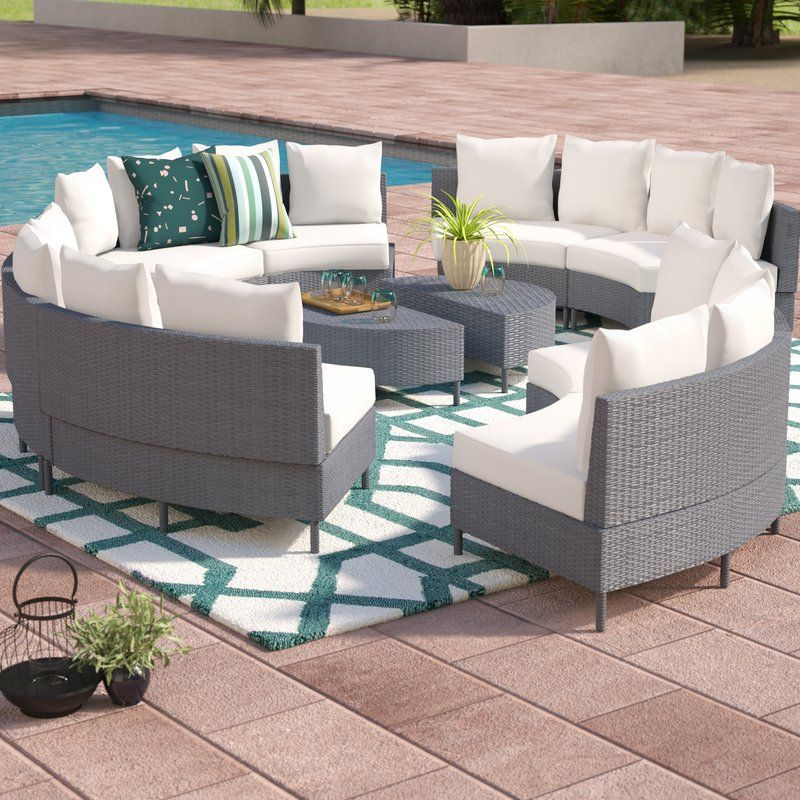 Sena 10 Piece Rattan Sectional Set With Cushions Patio Lounge Furniture Conversation Set Patio Outdoor