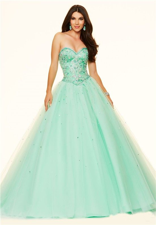 1a84b45f878 Puffy Ball Gown Strapless Mint Green Satin Tulle Beaded Prom Dress Corset  Back