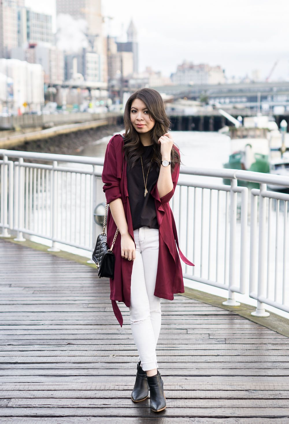 865241a8b9 shein burgundy trench coat, street style, casual outfit Seattle Fashion,  Chic Outfits,