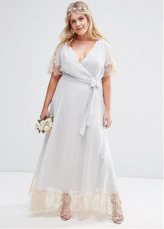 Charming Silk-like Chiffon V-neck Neckline Plus Size A-Line Bridesmaid Dress