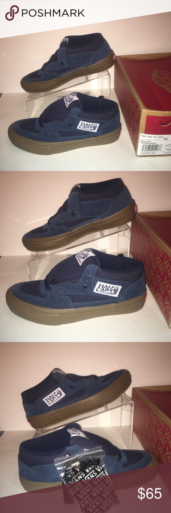 New Vans Half Cab Pro Navy Gum Size 6.5 New with box Includes extra laces  Size 6.5 Vans Shoes Sneakers 7eb3855ad