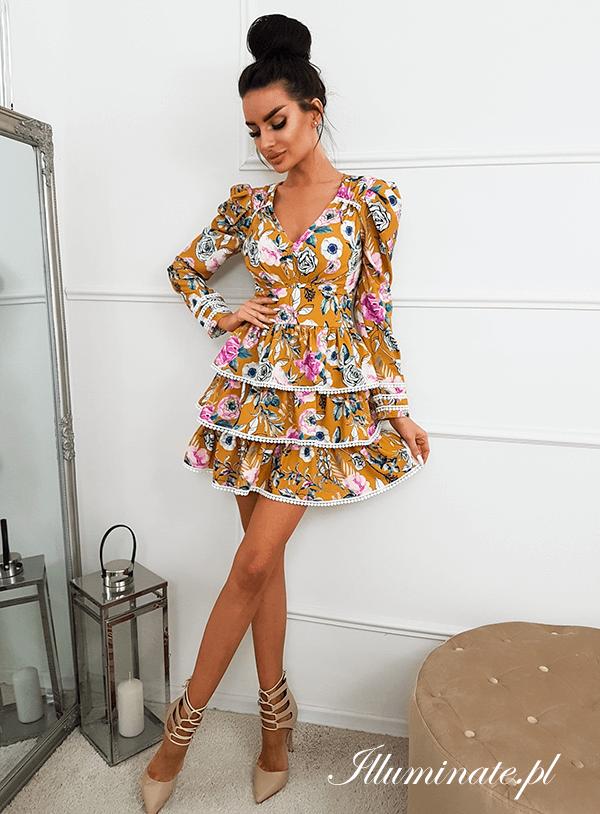 Sisi Musztardowa Sukienka W Kwiaty African Attire African Fashion Modern African Fashion