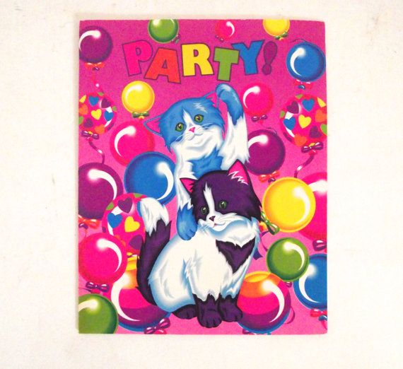 Vintage Lisa Frank Party Invitations