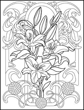Art Nouveau Animals and Flowers Adult Coloring Book by