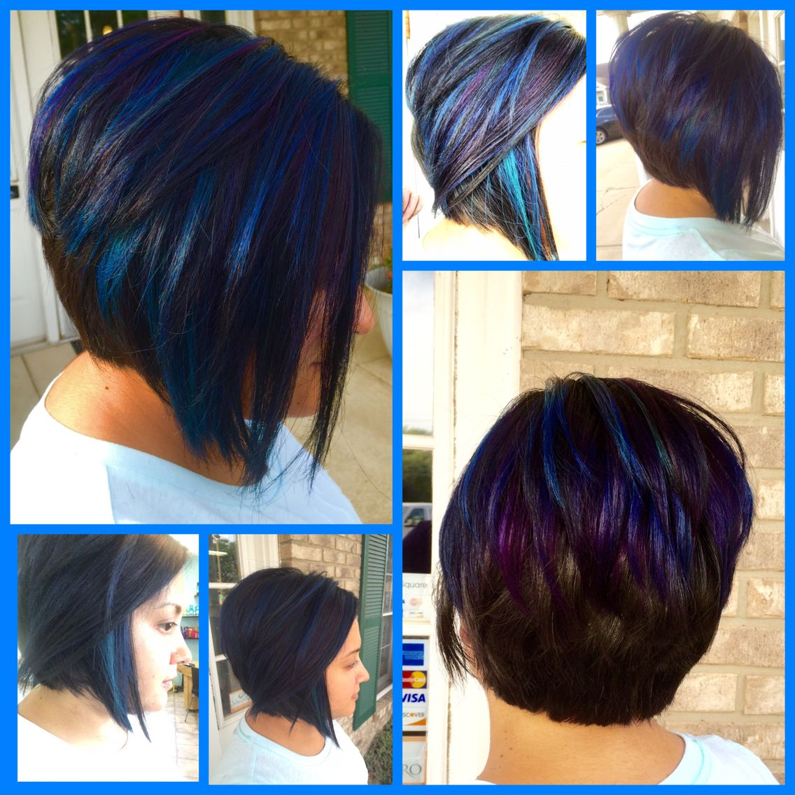 Black Purple Blue Teal Ombr 233 Hair Asymmetrical Bob Haircut