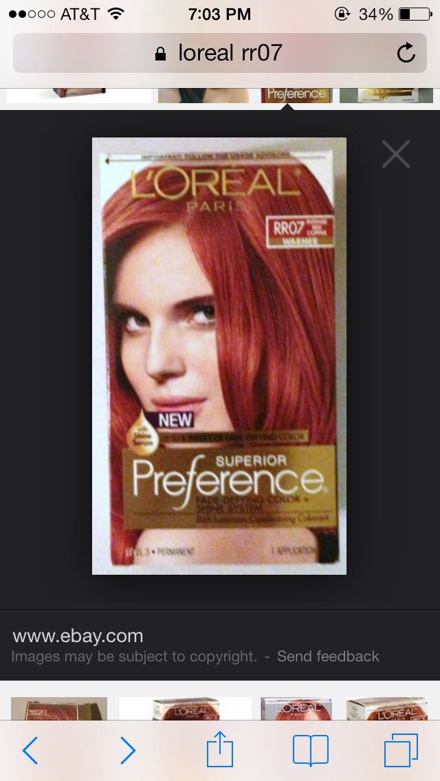 L Oreal Rr07 Intense Red Copper Hair Dye Colors Boxed Hair