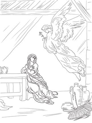 Angel Gabriel Visits Mary Coloring Page Supercoloring Com Angel Coloring Pages Jesus Coloring Pages Christian Coloring