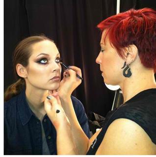 Mehron sponsors Mercedes Benz- Katie Stern of VENEXIANA Feb 2013    Key Makeup Artist - Dani Fonseca — with Dani Fonseca-Ondrek at Lincoln Center Atrium.