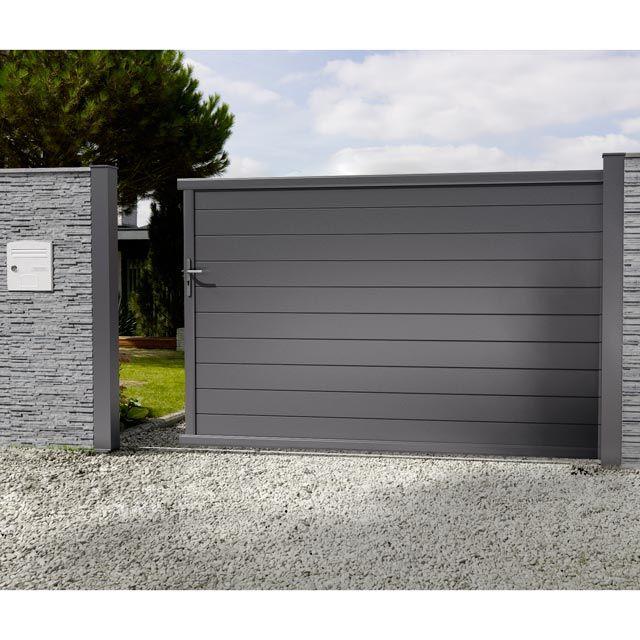 Portail En Alu Coulissant Nancray Noir 300 Cm Portail Coulissant Portail Coulissant Fer Portail Maison
