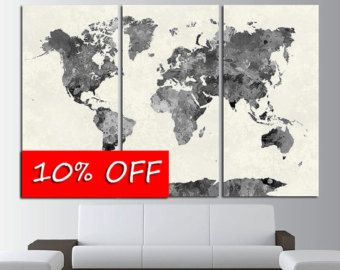 World Map Large Print Beige World Map Big World Map By ZellartCo - Big world map for wall