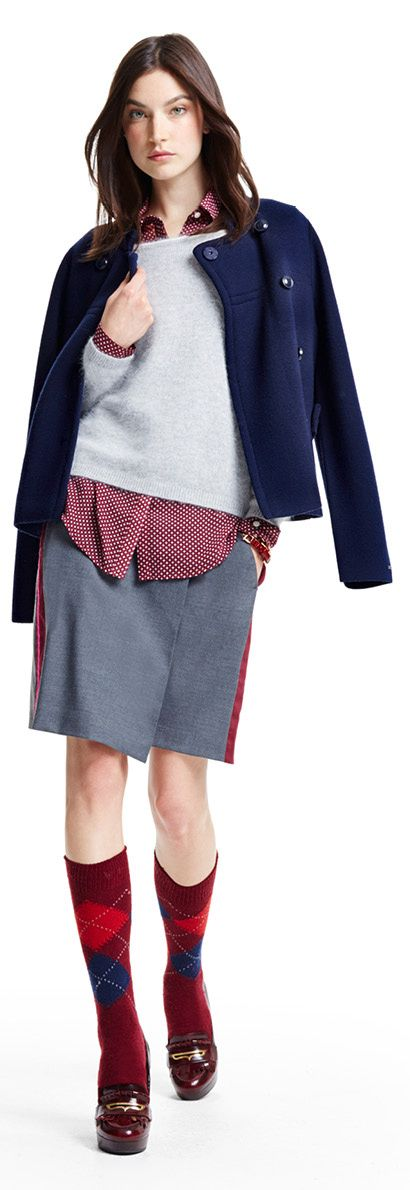Tommy Hilfiger FW13 Calyn Gabrielle Printed Blouse, Tamsin Sweater, Vail Wool Skirt, Hilfiger Bracelet #tommyhilfiger #FW13 #womenswear #Fall2013