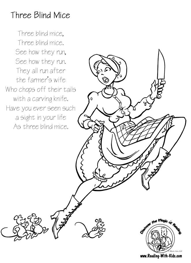 Nursery Rhyme coloring pages (more at link) from reading-with-kids ...