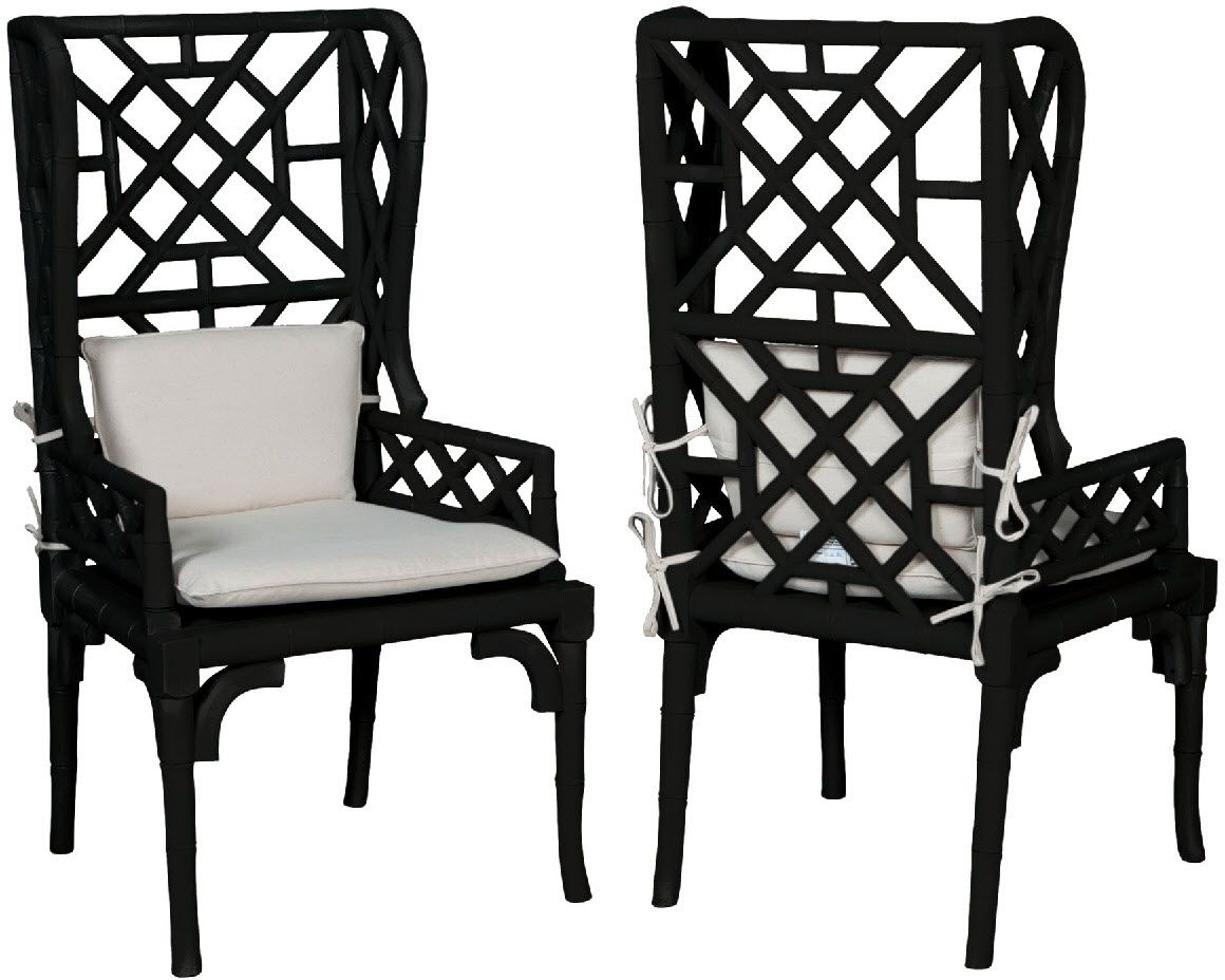 Bamboo Wing Back Chair Grain De Blois Noir Guildmaster