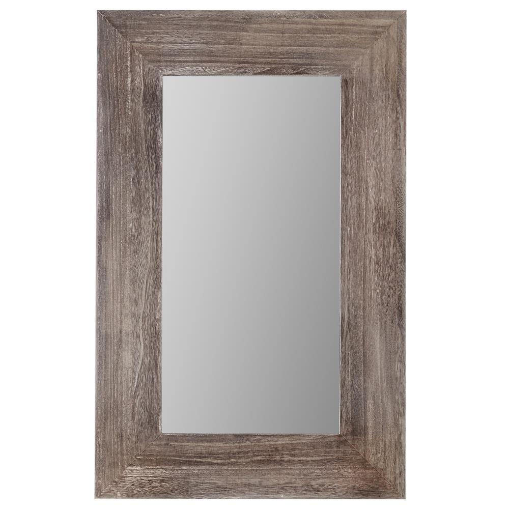 Miroir avec cadre en bois miroirs d cor mural deco wood framed mirror wall for Miroir mural sans cadre