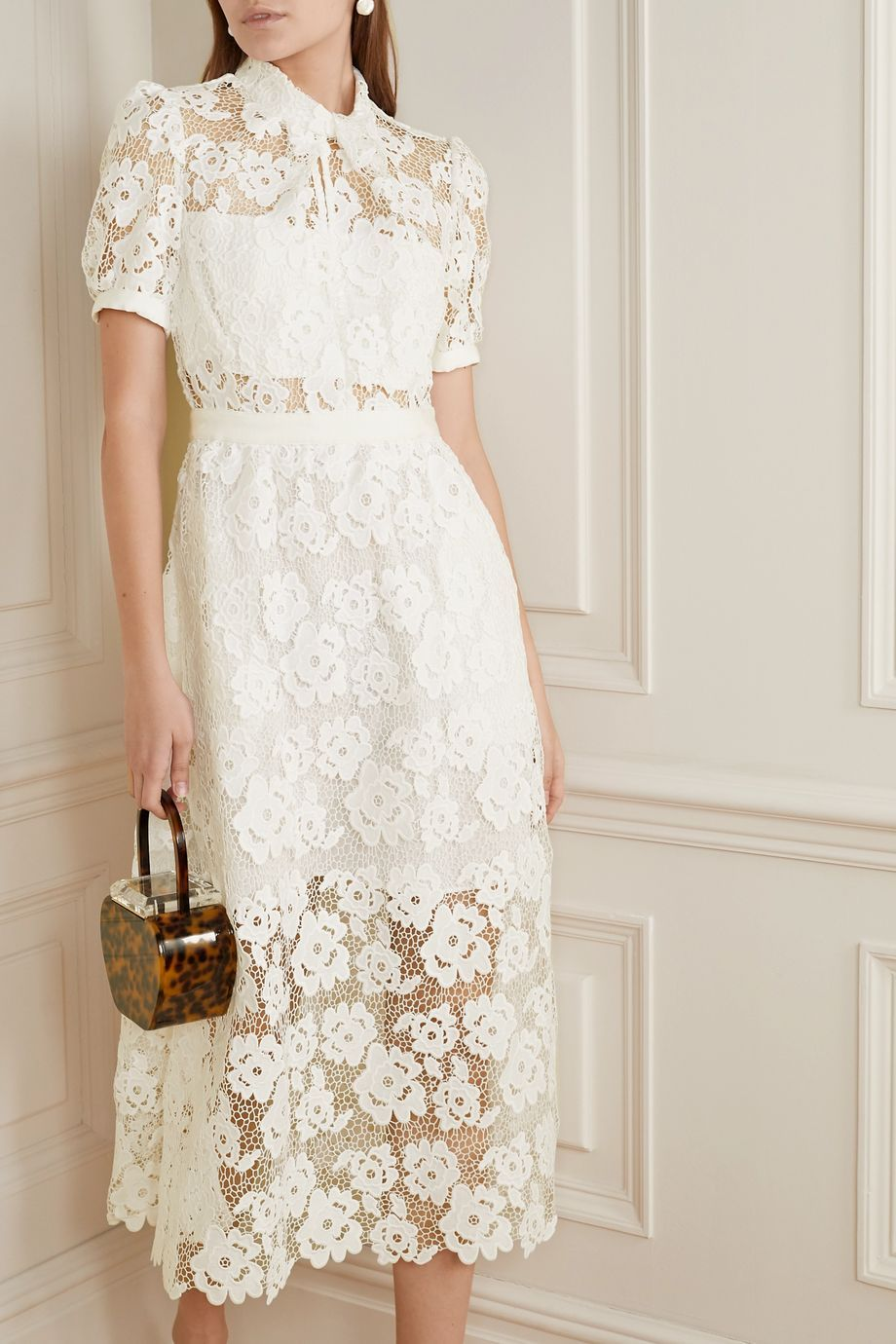 White Grosgrain Trimmed Guipure Lace Midi Dress Self Portrait Lace Midi Dress Lace White Dress Midi Dress [ 1380 x 920 Pixel ]
