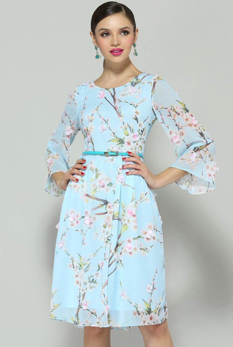 Blue long sleeve floral applique dress sewing projects pinterest