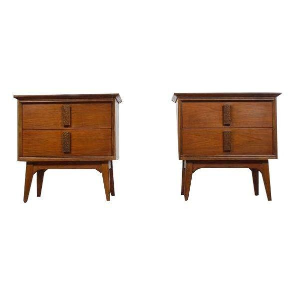 Vintage Bassett Mayan Nightstands A Pair Mid Century Modern Nightstand Modern Nightstand Furniture