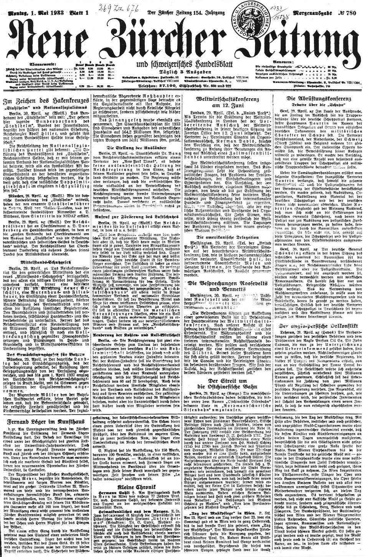Nzz 1 5 1933 Alte Zeitung Zeitung Titelseite