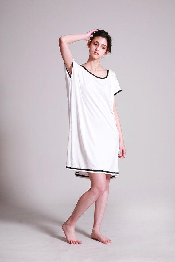 Summer White Dress Plus Size Dress Knee Length Dress Oversized