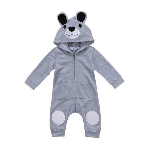 Newborn Infant Baby Kids Boy Girl Cartoon 3D Ear Hooded Romper Jumpsuit Clothes