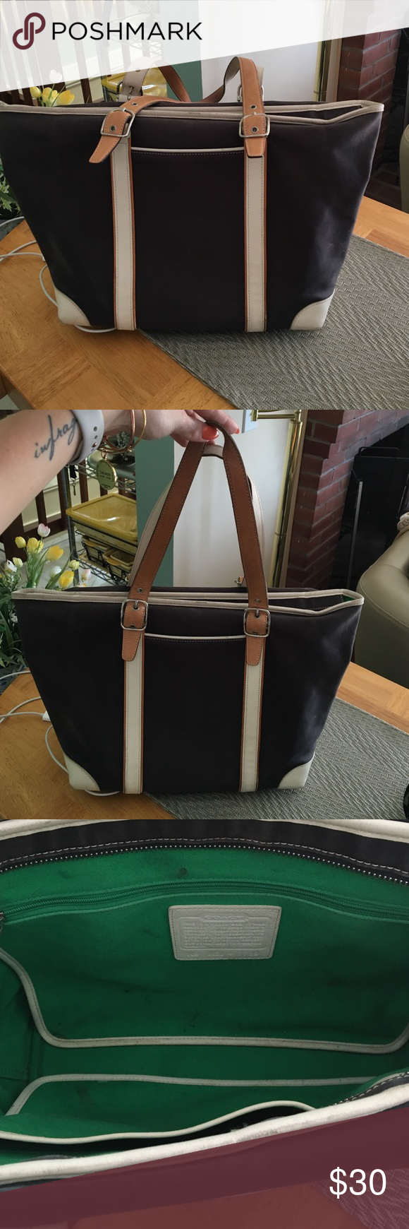 """Coach tote bag Navy blue/cream/tan. Lines in Kelley green. Tote bag. Some staining in the insides. Could be removed with cleaner. Other than that good bag. Zip closure. Inside zip pocket. In side pouches. Front pocket. 17.5""""w x 10.5""""h. 9.5"""" handle drop. Coach Bags Totes"""
