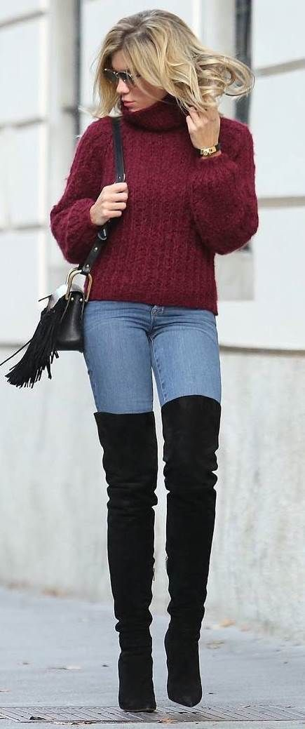 ff705bdc0bf Burgundy sweater with blue jeans And black OTK boots.