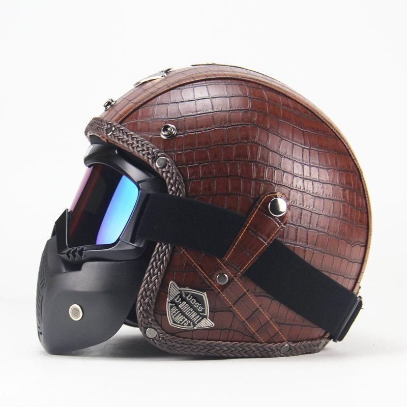 Vintage Leather Motorcycle Helmet Face Mask Motorcycle Helmets Vintage Leather Motorcycle Helmet Cafe Racer Helmet