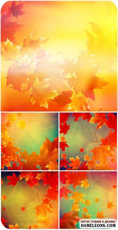Красивые осенние фоны с желтыми и красными листьями в векторе   Autumn background vector
