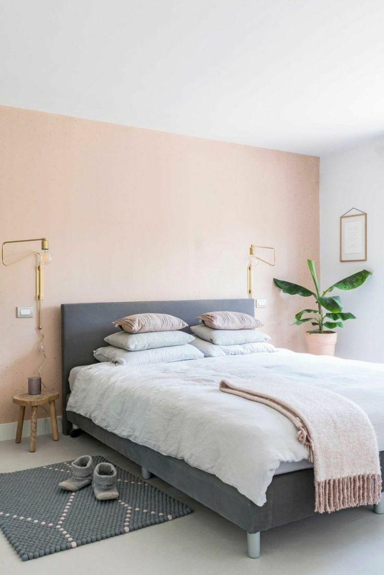 dezente farben als trend pfirsich und grau kombinieren schlafzimmer in 2019. Black Bedroom Furniture Sets. Home Design Ideas