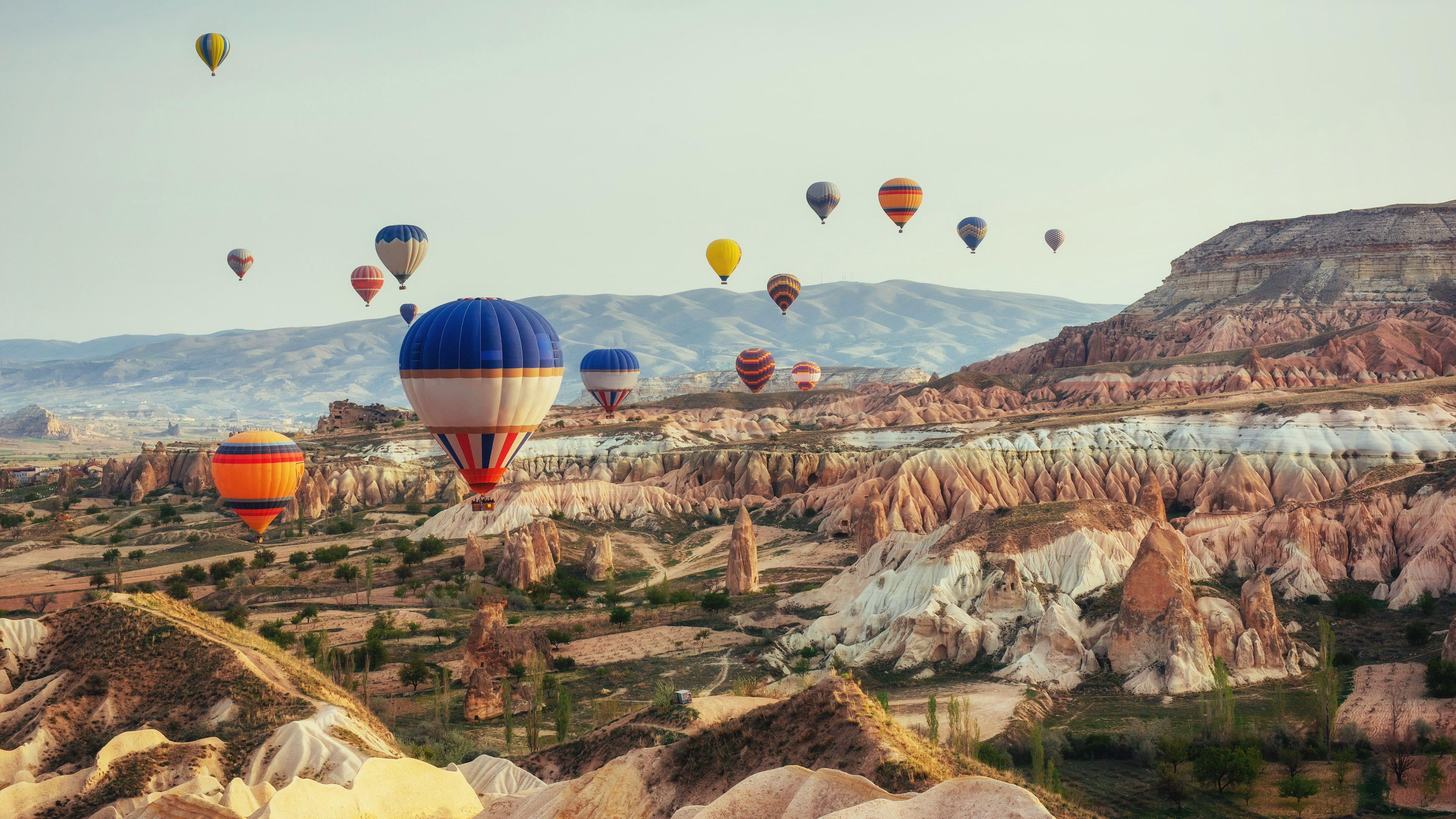 aerial photography hot air ballooning 5k uhd pillars