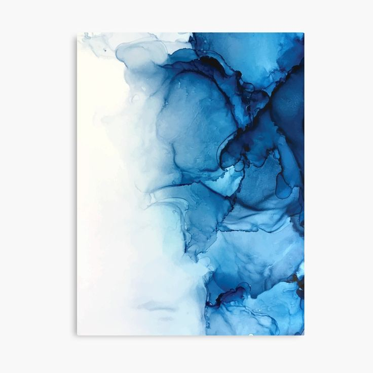 'Blue Tides - Alcohol Ink Painting' Metal Print by Elizabeth Karlson