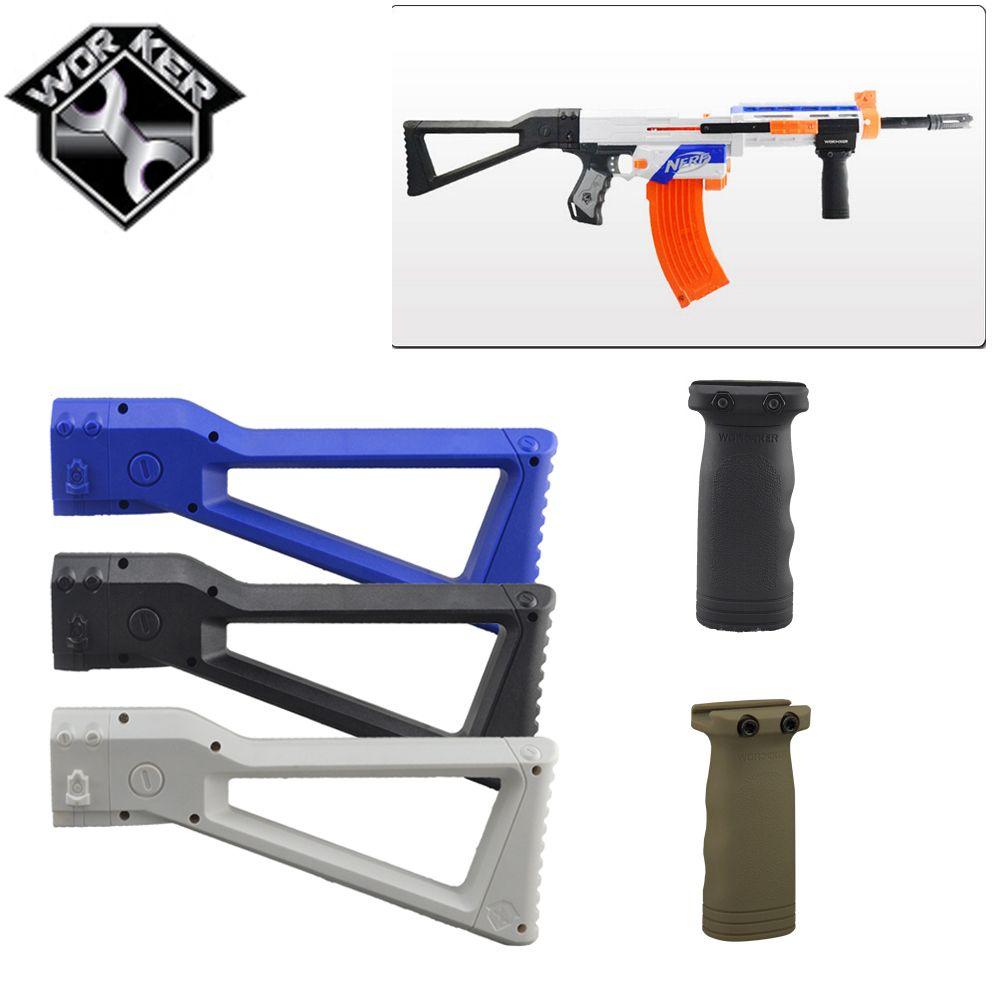 XSW MOD 3D Print HK 416C Rifle Collapsible Butt Stock Black Nerf Modify  Dart Toy