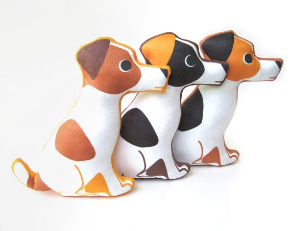 Jack Russell Terrier Plush Pillow by bubbledog on Etsy