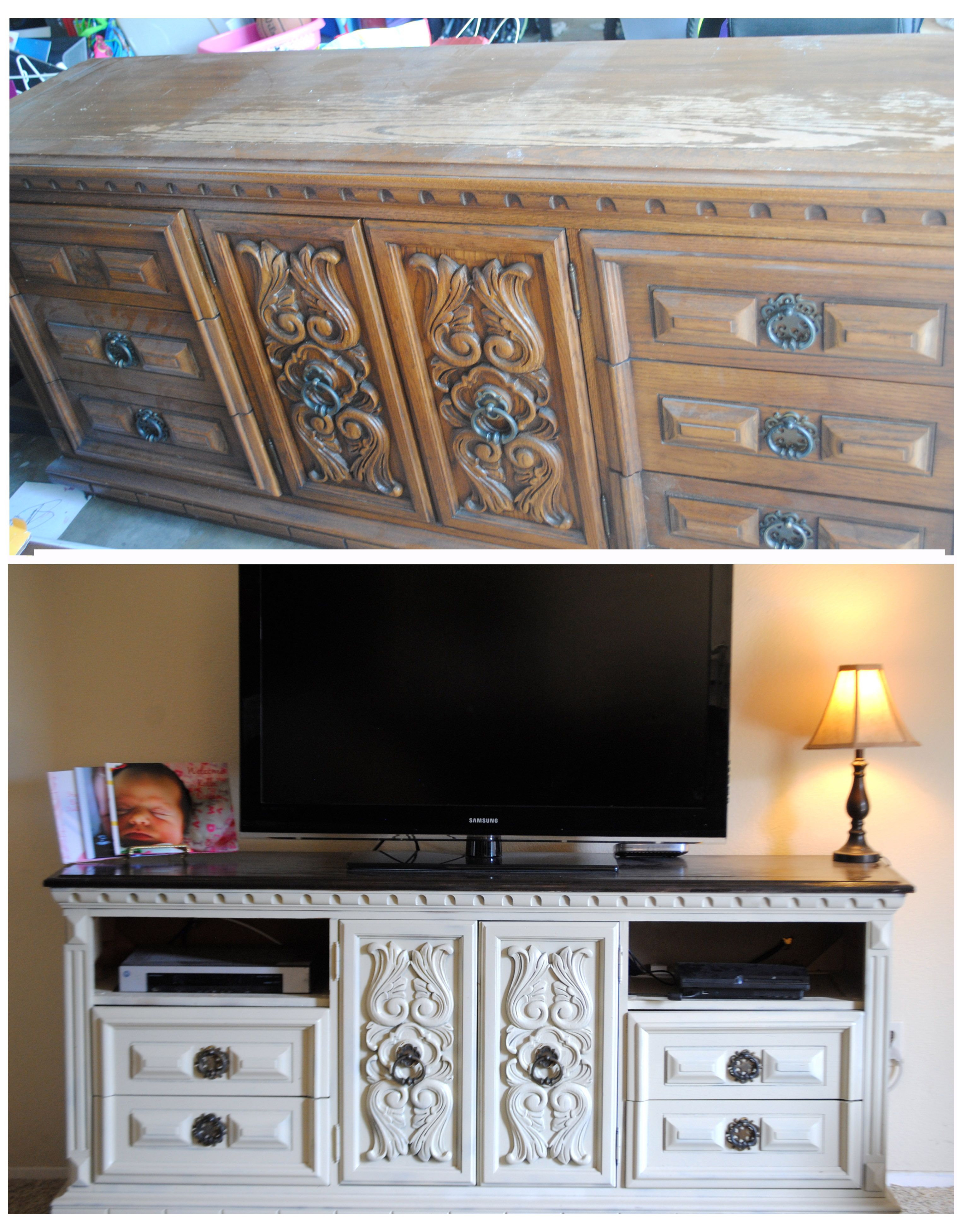 Dove Wood Dresser Garage Sale Find Turned Tv Stand Diy Before And After Spray Color Almond St Repurposed Furniture Furniture Makeover Refurbished Furniture