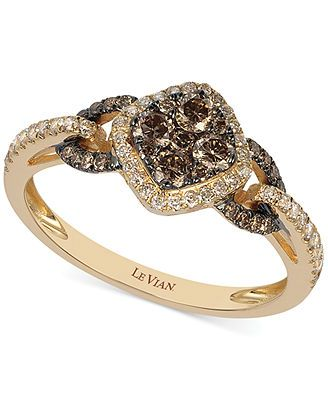 Le Vian Chocolate and White Diamond Ring in 14k Rose Gold 58 ct